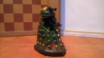 Custom destroyed Dalek with a huge hole in the front