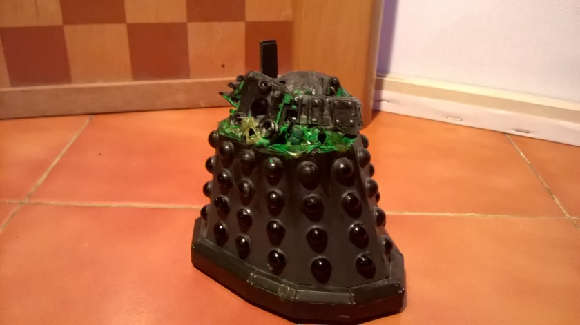 A Destroyed Black Time War Dalek Custom created to resemble the destroyed Renegade Dalek from Remembrance of the Daleks