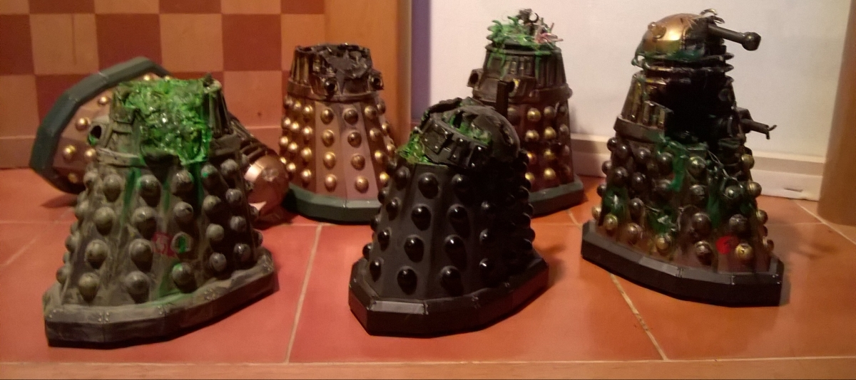 A group of custom destroyed Daleks
