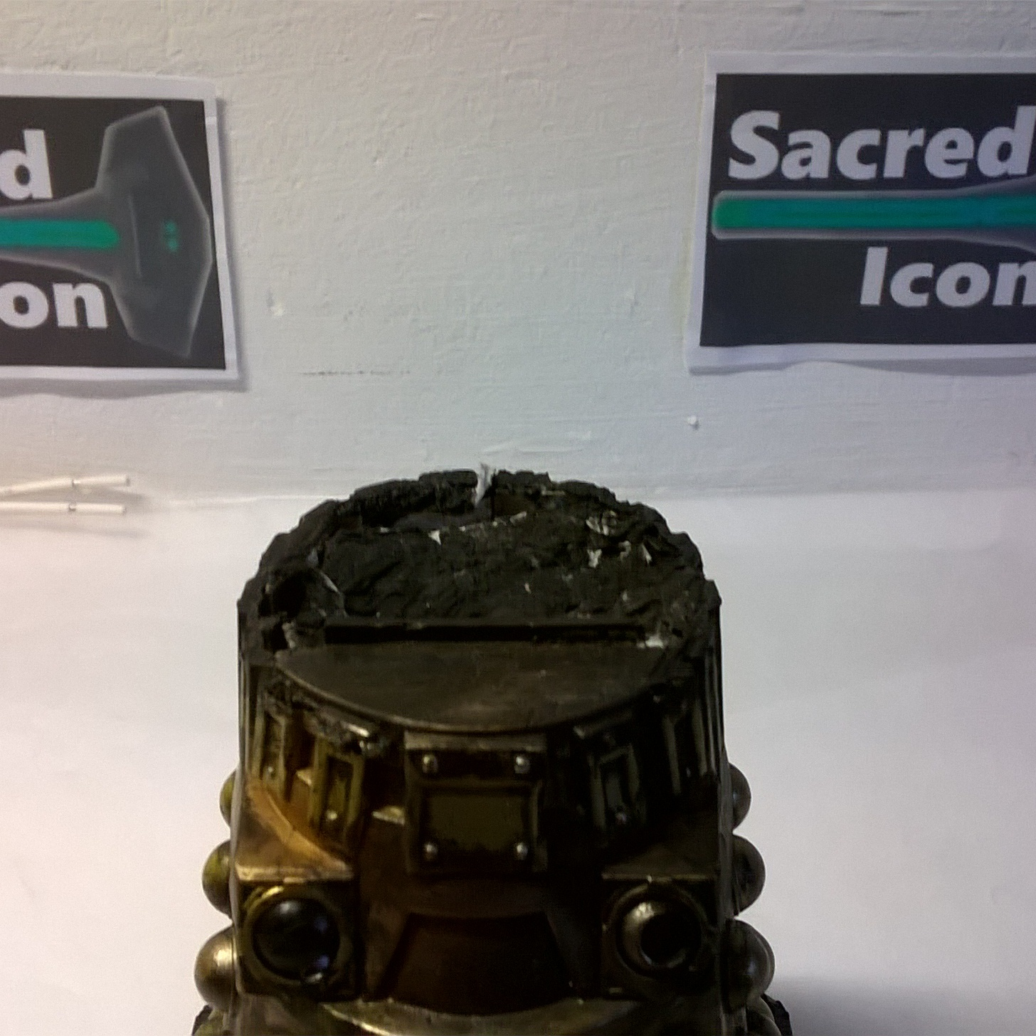 Custom Destroyed Time War Dalek showing the missing head