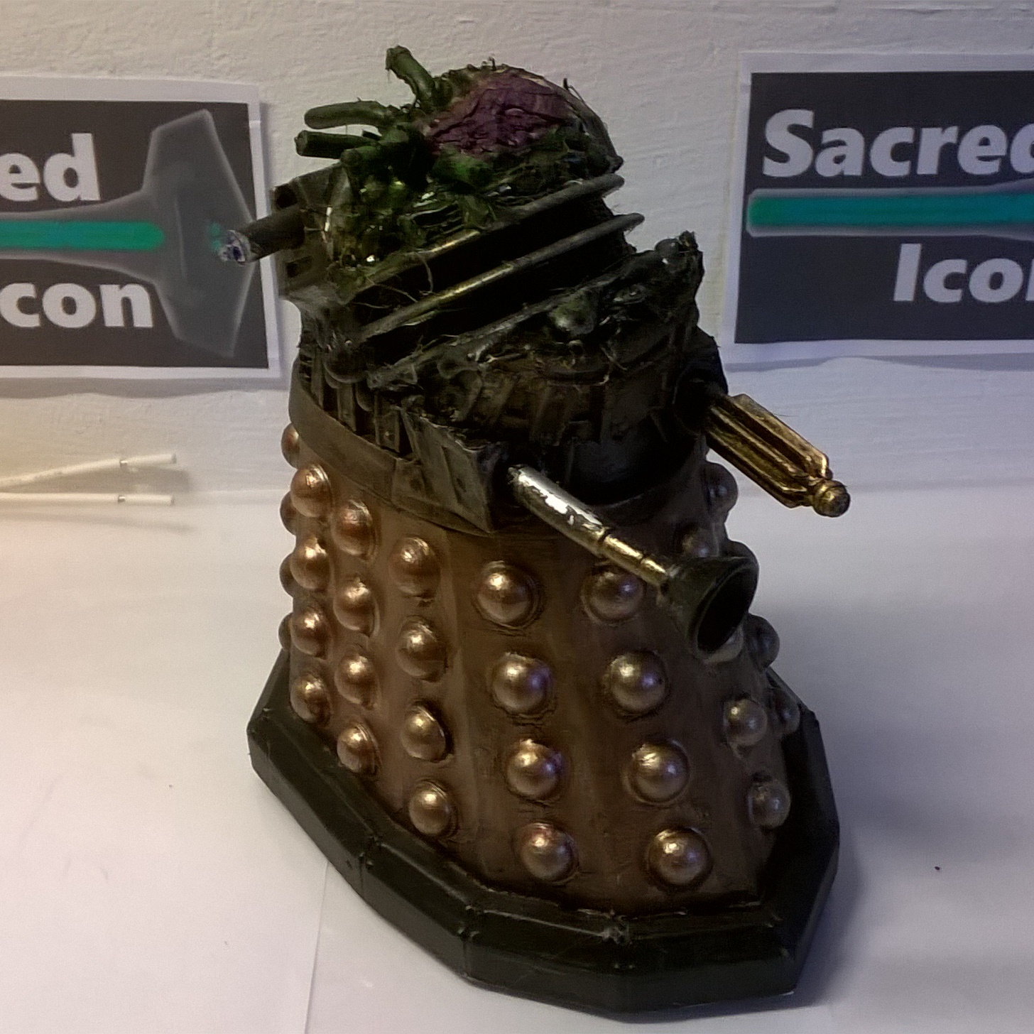 Custom Destroyed Time War Dalek with the top half a ruin